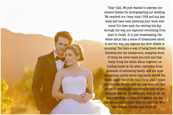 """""""Dear Calli, We just wanted to express our sincere thanks for photographing our wedding. We received our (very cute!) USB and box last week and have been admiring your work ever since! It"""